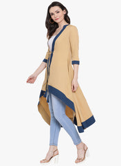 Fabnest womens crepe beige coloured cape with navy blue border and tie up at the waist