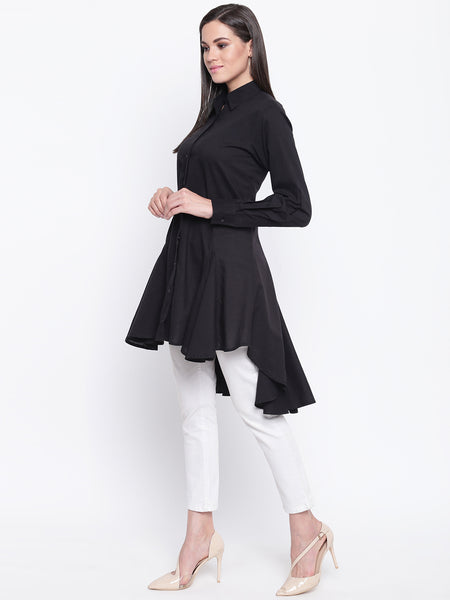 Fabnest womens black cotton full sleeves assymetrical tunic with godets