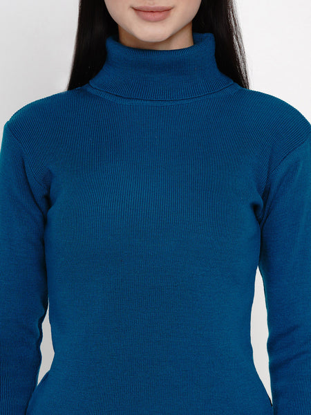 Fabnest Women Winter Turquoise High Neck Sweater