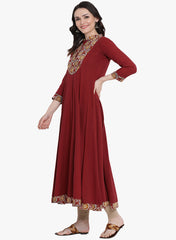 Fabnest womens cotton maroon anarkali Kurta with printed yoke and border.