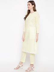 Fabnest women yellow cotton straight kurta pant set with rick rack lace at kurta hem