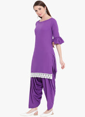 Fabnest womens short kurta with lace at bottom hem and salwar set in purple crepe
