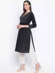 Fabnest womens cotton black straight kurta with v neck topstitch on the yoke.