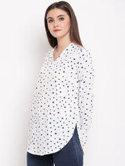 Fabnest womens crepe white tunic with star print and v neck