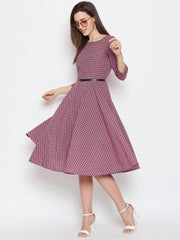 Fabnest women fit and flare pink check dress