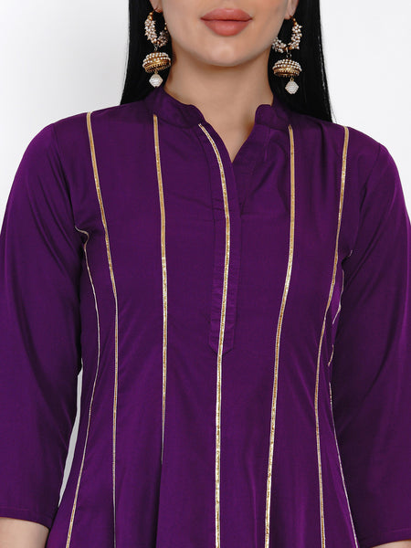 Fabnest Womens Purple Crepe Anarkali Kurta With Gota Inserts