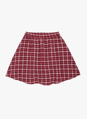Fabnest girls red cotton check skirt
