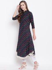 Fabnest womens indigo small flower print cotton kurta with U bottom and tassles