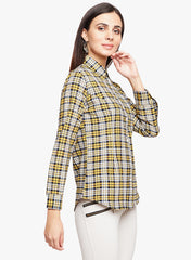 Yellow Plaid Fitted Shirt
