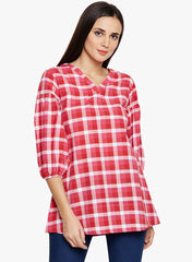 Pink & Red Check Tunic with Bishop Sleeves