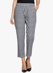 Fabnest Women's handloom cotton black and white check pants.