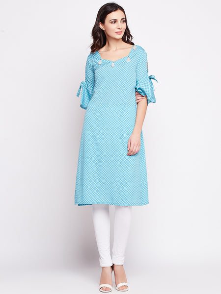 Fabnest womens crepe light turquoise kurta with slit and flounce sleeve with tassels at neck