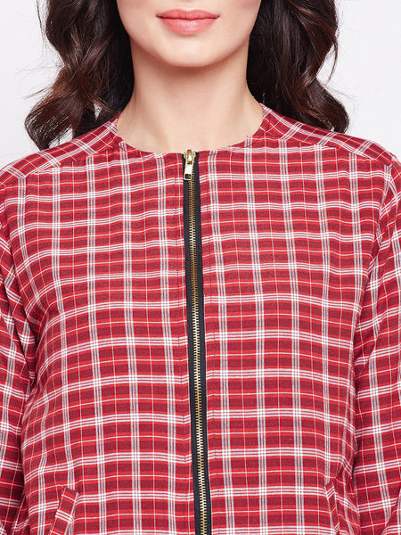 Fabnest Womens cotton red plaid bomber jacket