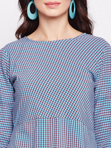 Fabnest womens check tunic with circular bottom hem