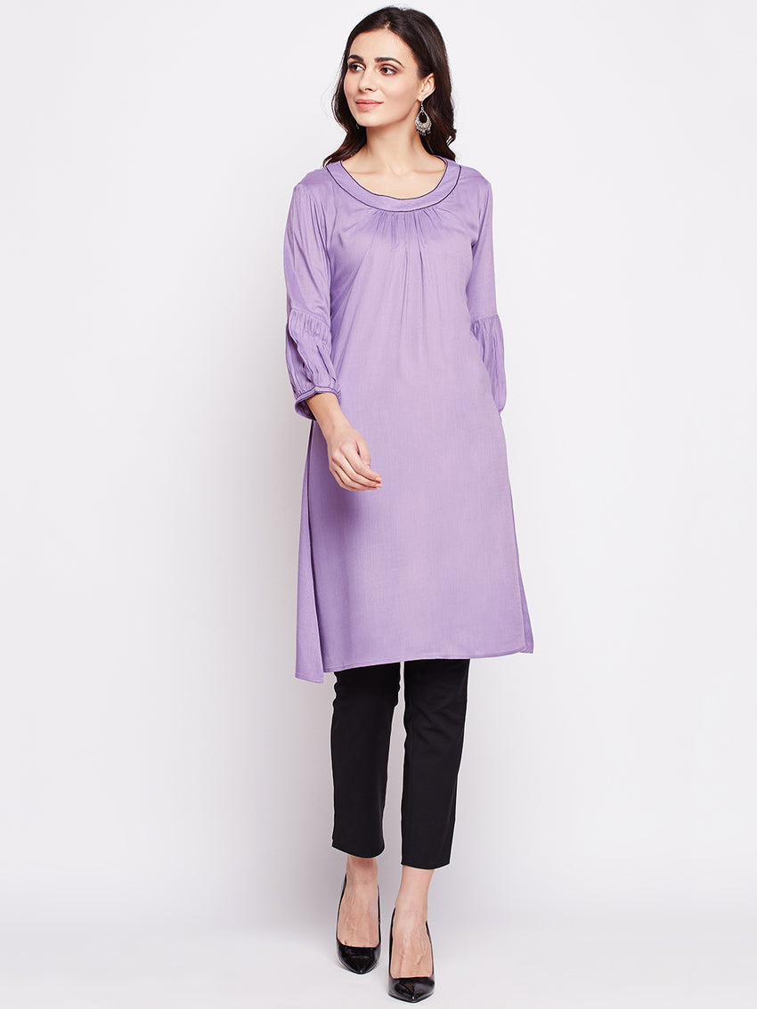 Fabnest Womens lilac tunic with gathers at neck