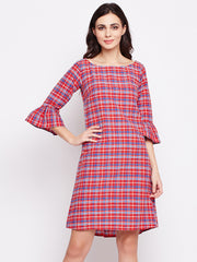 Fabnest womens red check cotton shift dress with flounce sleeve