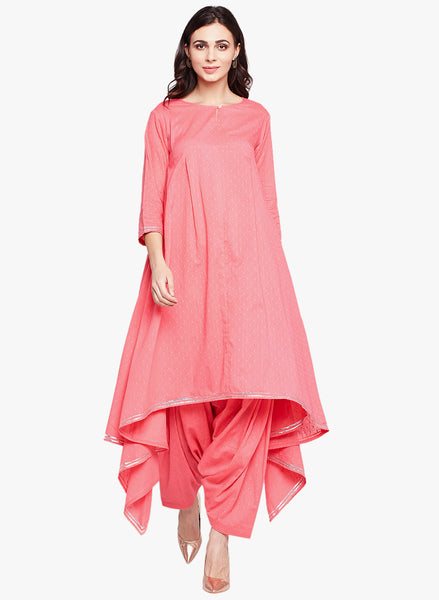 Fabnest Womens pink cotton dobby set consisting of an assymetrical kurta and salwar with a little silver gota accent.