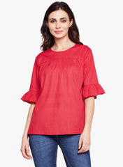Fabnest womens 100% cotton gathered red top in self stripe with yoke design and flounce sleeve