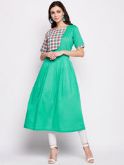 Fabnest womens cotton green kurta with an attached check half jacket