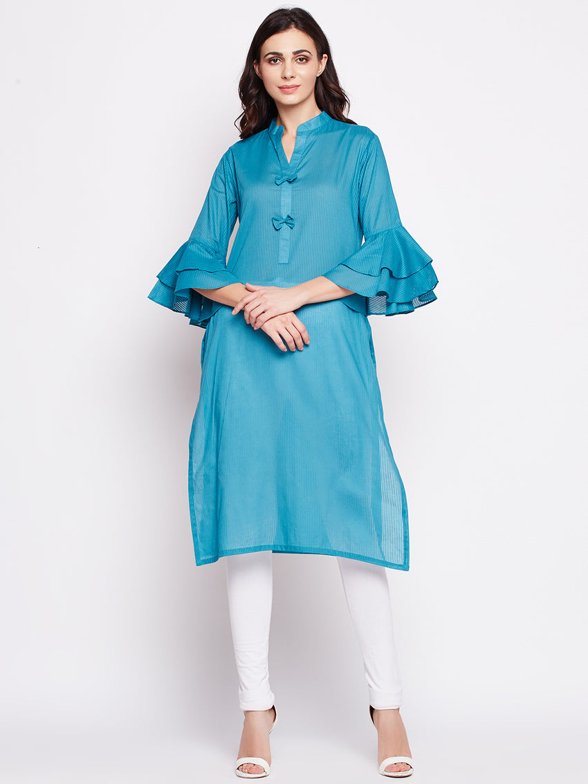 Fabnest womens cotton kurta with double flounce sleeve and bows at the placket