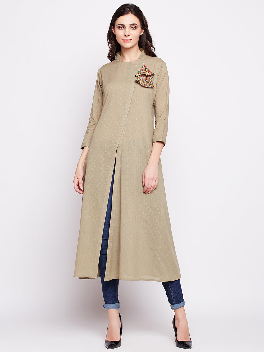 Fabnest womens cotton self design angarkha inspired indo western kurta with fabric tassels.