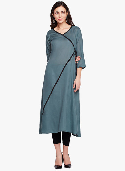 Fabnest women cotton long straight kurta with lace embellishment