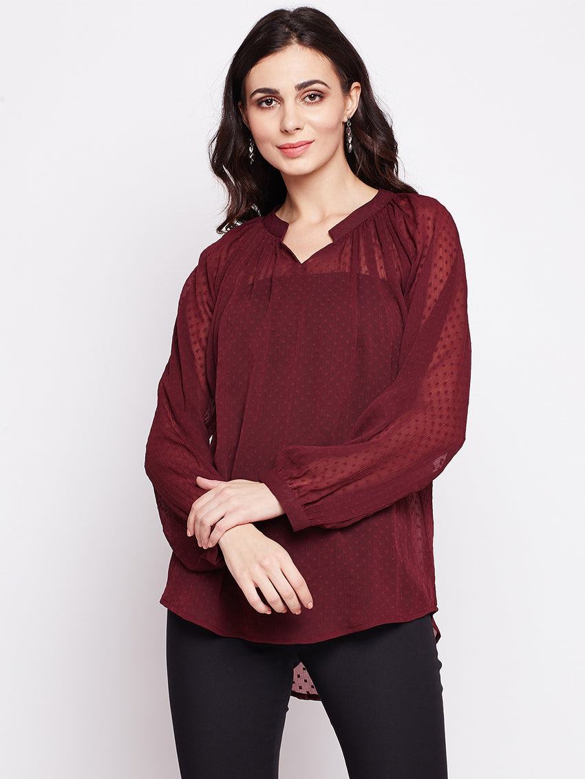 Fabnest womens Georgette maroon top