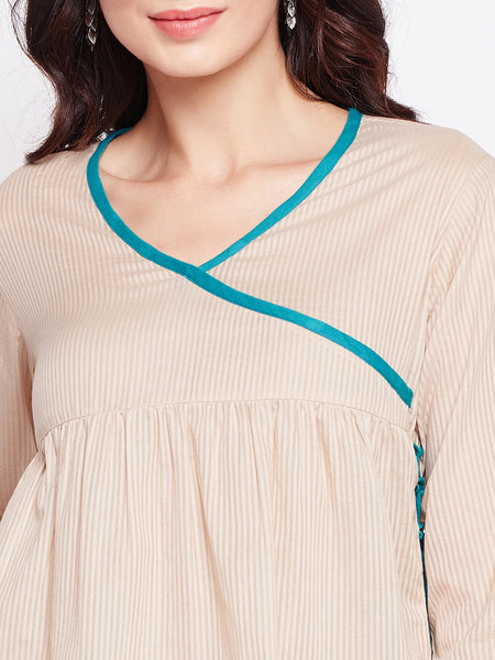 Fabnest womens cotton angarkha styled top with contrast piping.