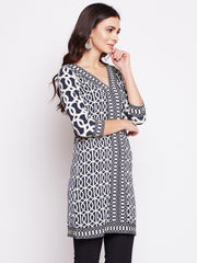 Fabnest womens winter wear long stretchable fabric tunic with geometric prints