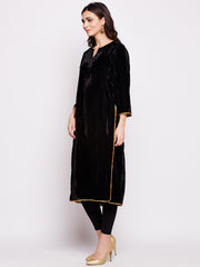 Fabnest womens black solid velvet straight long kurta with antique gold gota lace work
