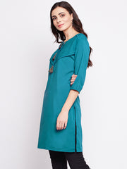 Fabnest womens blue crepe short kurta with pin tucks and contrast tassles