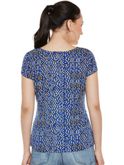 Fabnest Casual Sleeveless Printed Women's Blue Top