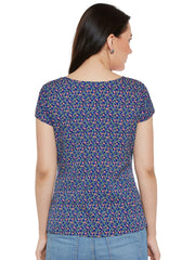 Fabnest Casual Half Sleeve Printed Women's Blue Top