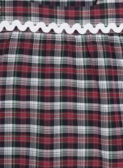 Fabnest girls cotton check dress with cap sleeve and lace details