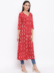 Fabnest womens cotton red ikkat tunic with front slit