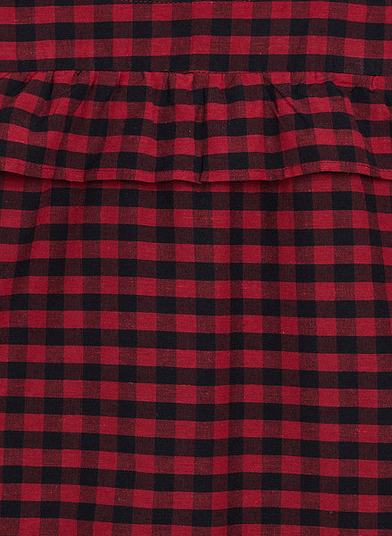 Fabnest girls red cotton check cold shoulder dress