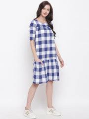 Fabnest womens handloom cotton blue and white big check dress with pockets and a gathered bottom tier.