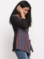 Fabnest womens cotton black top with front indigo printed panel and side tie up