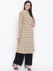 Fabnest womens yellow check straight kurta with buttons on the side.