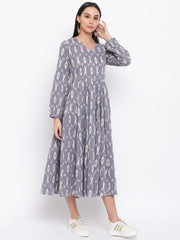 Fabnest womens cotton grey ikkat multi paneled flared dress