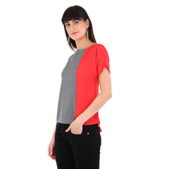 Fabnest women's crepe colour blocked top