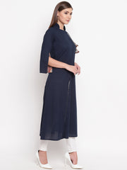 Fabnest womens assymetrical navy blue cotton kurta with side tassles and sleeve in ethnic print