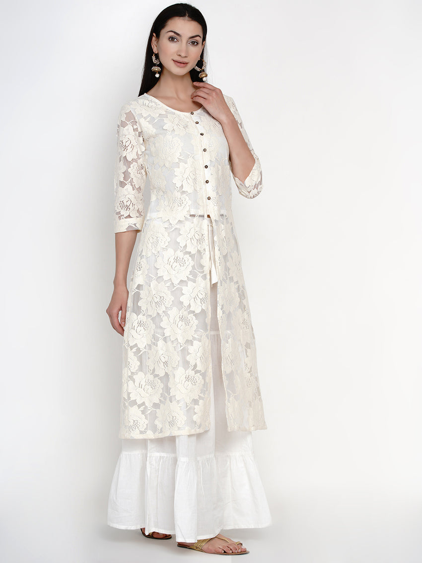 Lace front slit kurta with cotton bodice lining and cotton sharara set