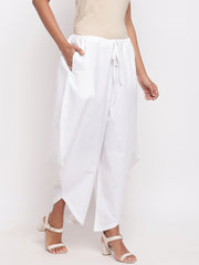 Fabnest women asymmetrical white cotton pant