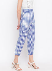 Fabnest womens handloom cotton blue and white check pants