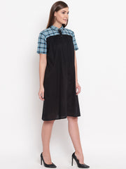 Fabnest womens Button down solid cotton dress/tunic with check yoke, collar and sleeve