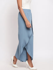 Fabnest womens crepe grey overlapping layered pants