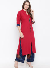 Fabnest women rayon red kurta palazzo set with multicolour buttons