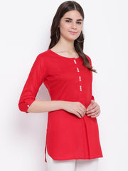Fabnest womens red ayon inverted pleat short kurta/tunic