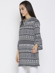 Fabnest women printed long top/tunic with flounce sleeves